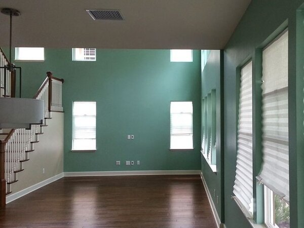 Living room painted green
